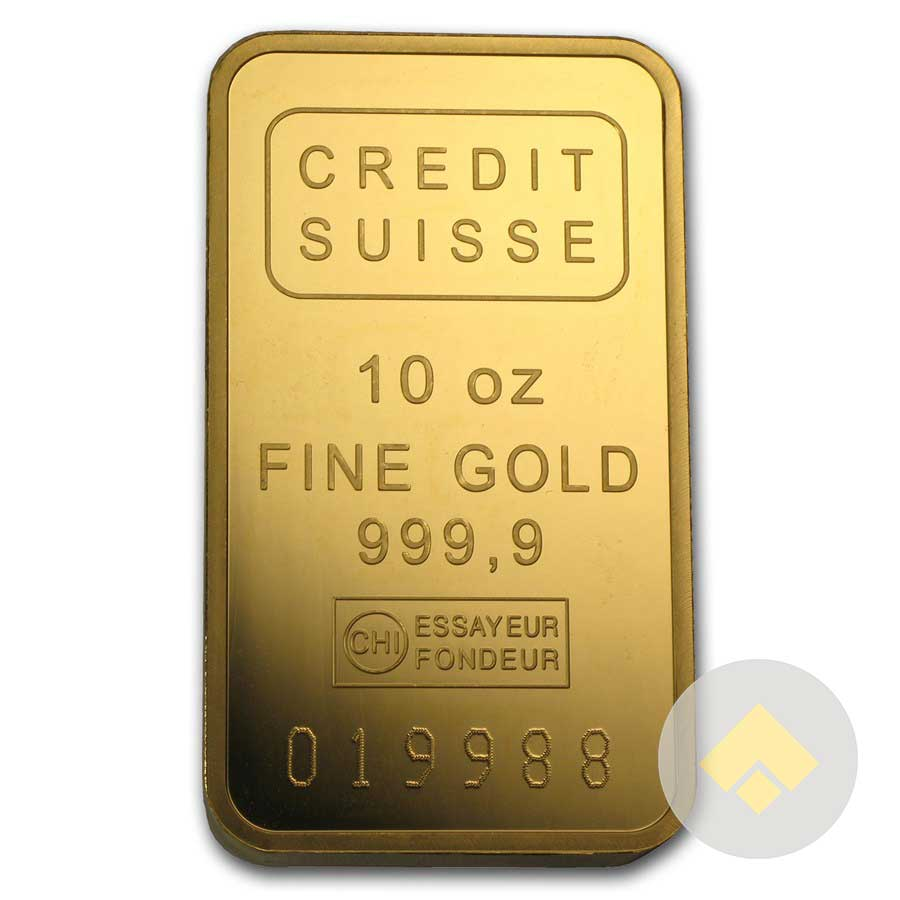 10 Oz Credit Suisse Gold Bar In Assay