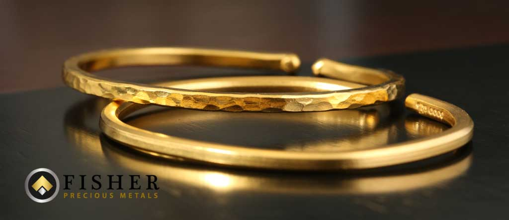 24 Karat Gold Bracelet Hammered Finish