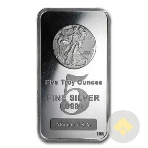 5 oz HM Silver Bar Walking Liberty Design