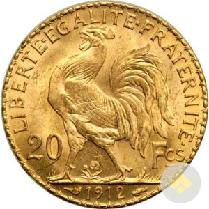 French Gold 20 Francs Rooster