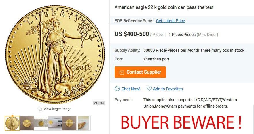 Alibaba Fake Gold Eagle Coins
